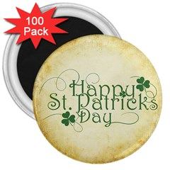 Irish St Patrick S Day Ireland 3  Magnets (100 Pack) by Simbadda