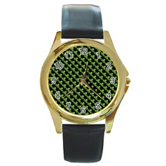 St Patrick S Day Background Round Gold Metal Watch by Simbadda