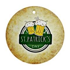 Irish St Patrick S Day Ireland Beer Round Ornament (two Sides)