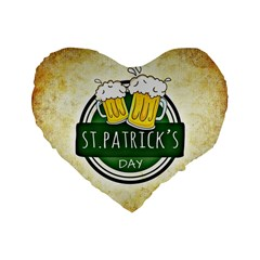 Irish St Patrick S Day Ireland Beer Standard 16  Premium Flano Heart Shape Cushions by Simbadda