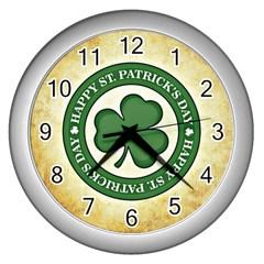 Irish St Patrick S Day Ireland Wall Clocks (silver)  by Simbadda