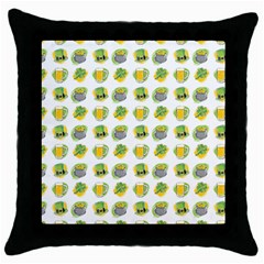 St Patrick S Day Background Symbols Throw Pillow Case (black) by Simbadda