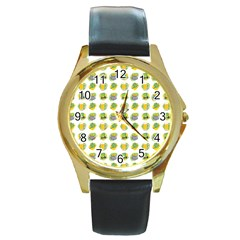 St Patrick S Day Background Symbols Round Gold Metal Watch by Simbadda