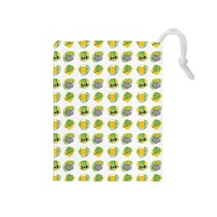 St Patrick S Day Background Symbols Drawstring Pouches (medium)  by Simbadda