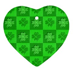 Fabric Shamrocks Clovers Ornament (heart) by Simbadda
