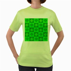 Fabric Shamrocks Clovers Women s Green T Shirt by Simbadda