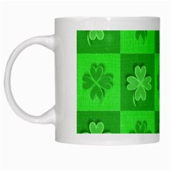 Fabric Shamrocks Clovers White Mugs by Simbadda