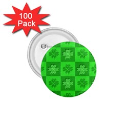 Fabric Shamrocks Clovers 1 75  Buttons (100 Pack)  by Simbadda