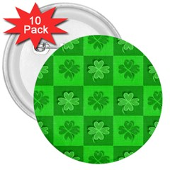 Fabric Shamrocks Clovers 3  Buttons (10 Pack)  by Simbadda