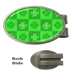 Fabric Shamrocks Clovers Money Clips (oval)  by Simbadda