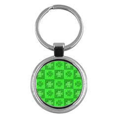 Fabric Shamrocks Clovers Key Chains (round)  by Simbadda
