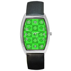 Fabric Shamrocks Clovers Barrel Style Metal Watch by Simbadda
