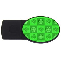 Fabric Shamrocks Clovers Usb Flash Drive Oval (4 Gb) by Simbadda
