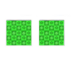 Fabric Shamrocks Clovers Cufflinks (square) by Simbadda