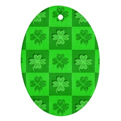 Fabric Shamrocks Clovers Oval Ornament (two Sides) by Simbadda