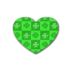 Fabric Shamrocks Clovers Rubber Coaster (heart)  by Simbadda
