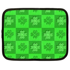 Fabric Shamrocks Clovers Netbook Case (large) by Simbadda