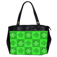 Fabric Shamrocks Clovers Office Handbags (2 Sides)  by Simbadda