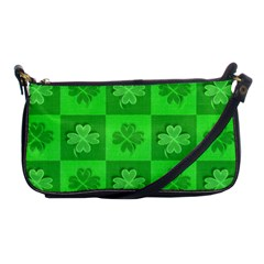 Fabric Shamrocks Clovers Shoulder Clutch Bags by Simbadda