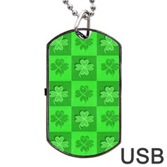 Fabric Shamrocks Clovers Dog Tag Usb Flash (one Side) by Simbadda