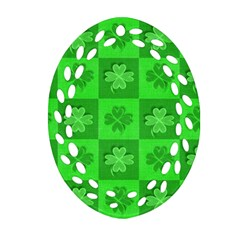 Fabric Shamrocks Clovers Oval Filigree Ornament (two Sides) by Simbadda