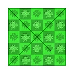 Fabric Shamrocks Clovers Acrylic Tangram Puzzle (6  X 6 ) by Simbadda