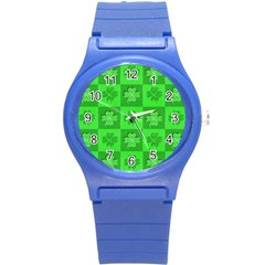 Fabric Shamrocks Clovers Round Plastic Sport Watch (s) by Simbadda