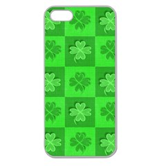 Fabric Shamrocks Clovers Apple Seamless Iphone 5 Case (clear) by Simbadda