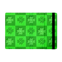 Fabric Shamrocks Clovers Apple Ipad Mini Flip Case by Simbadda