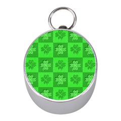 Fabric Shamrocks Clovers Mini Silver Compasses by Simbadda