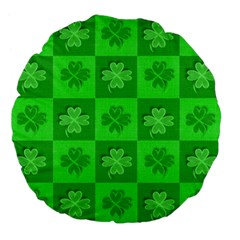 Fabric Shamrocks Clovers Large 18  Premium Flano Round Cushions by Simbadda