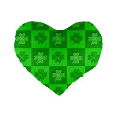 Fabric Shamrocks Clovers Standard 16  Premium Flano Heart Shape Cushions by Simbadda