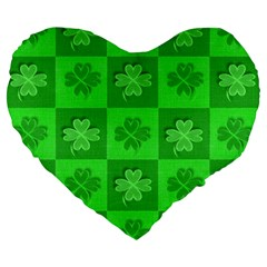 Fabric Shamrocks Clovers Large 19  Premium Flano Heart Shape Cushions by Simbadda
