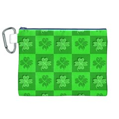 Fabric Shamrocks Clovers Canvas Cosmetic Bag (xl) by Simbadda