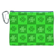 Fabric Shamrocks Clovers Canvas Cosmetic Bag (xxl) by Simbadda