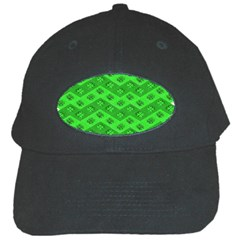 Shamrocks 3d Fabric 4 Leaf Clover Black Cap by Simbadda