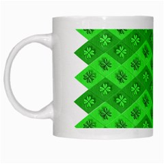Shamrocks 3d Fabric 4 Leaf Clover White Mugs by Simbadda