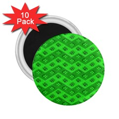 Shamrocks 3d Fabric 4 Leaf Clover 2 25  Magnets (10 Pack)  by Simbadda