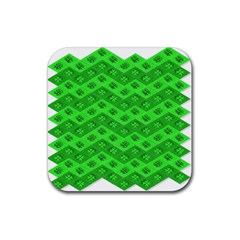 Shamrocks 3d Fabric 4 Leaf Clover Rubber Square Coaster (4 Pack)  by Simbadda