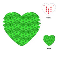 Shamrocks 3d Fabric 4 Leaf Clover Playing Cards (heart)  by Simbadda