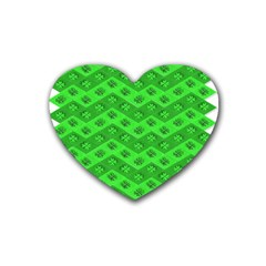 Shamrocks 3d Fabric 4 Leaf Clover Rubber Coaster (heart)  by Simbadda