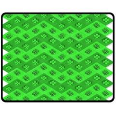 Shamrocks 3d Fabric 4 Leaf Clover Fleece Blanket (medium)  by Simbadda