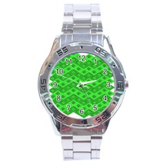 Shamrocks 3d Fabric 4 Leaf Clover Stainless Steel Analogue Watch by Simbadda