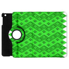 Shamrocks 3d Fabric 4 Leaf Clover Apple Ipad Mini Flip 360 Case by Simbadda