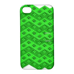 Shamrocks 3d Fabric 4 Leaf Clover Apple Iphone 4/4s Hardshell Case With Stand by Simbadda