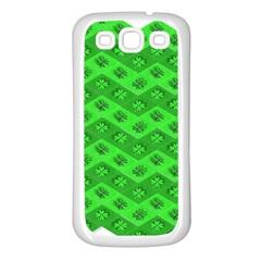 Shamrocks 3d Fabric 4 Leaf Clover Samsung Galaxy S3 Back Case (white) by Simbadda