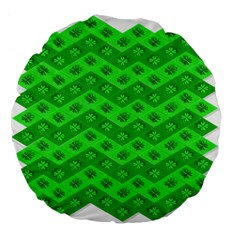 Shamrocks 3d Fabric 4 Leaf Clover Large 18  Premium Flano Round Cushions by Simbadda