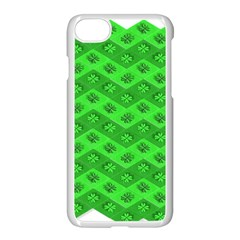 Shamrocks 3d Fabric 4 Leaf Clover Apple Iphone 7 Seamless Case (white) by Simbadda