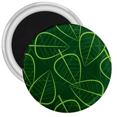 Vector Seamless Green Leaf Pattern 3  Magnets by Simbadda