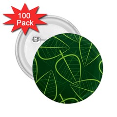 Vector Seamless Green Leaf Pattern 2 25  Buttons (100 Pack)  by Simbadda
